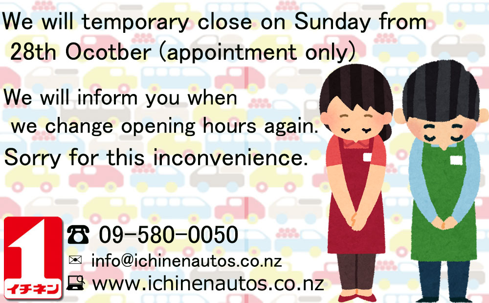 We will temporary close on Sunday...